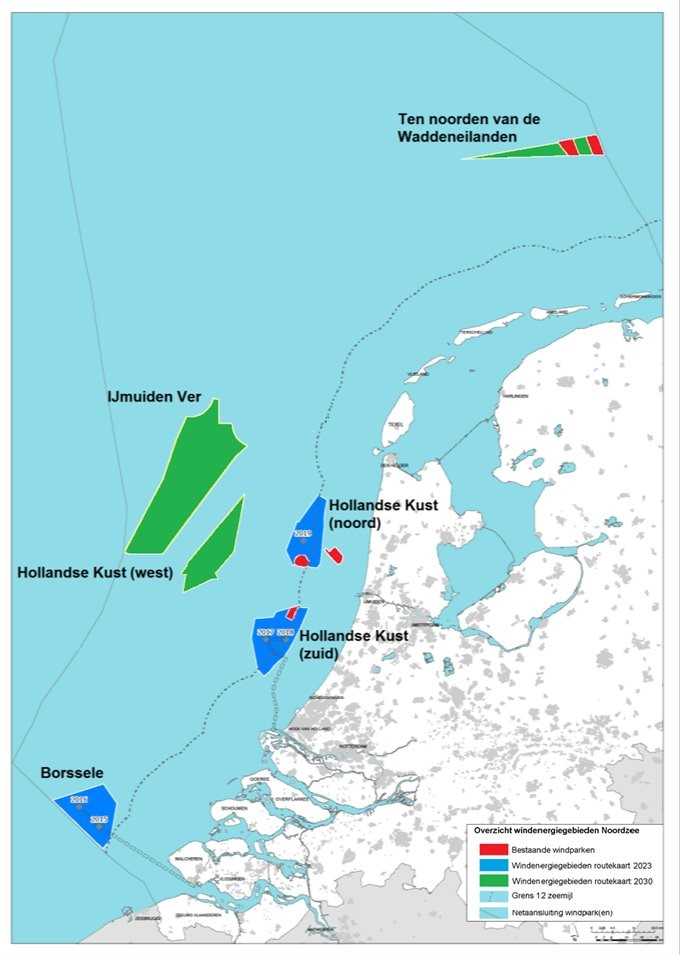 Overzicht windenergiegebieden Noordzee